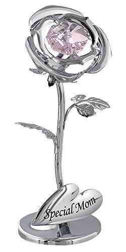 """Beautiful """"Special Mom"""" Silver Plated Flower Keepsake Gift with Pink Swarvoski Crystal By Haysom Interiors"""