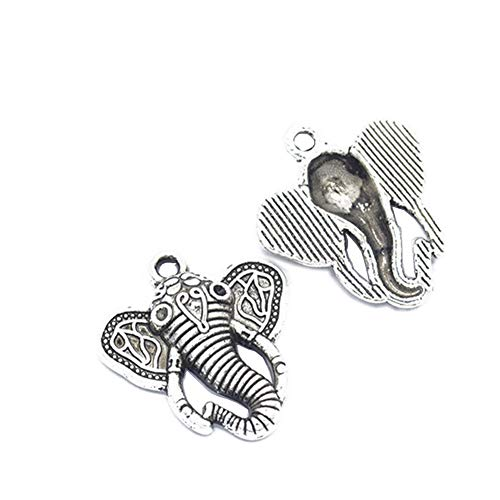 20pcs Antique Silver Elephant Head Charms Pendant Jewelry Findings for Jewelry Making Necklace Bracelet DIY28x25mm (20pcs Elephant) ()
