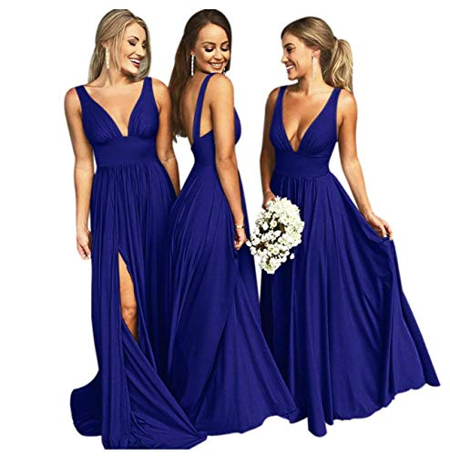 Bridesmaid Dress Long V Neck Backless Split Prom Dress Evening Gowns for Women 2019 Royal Blue Size18
