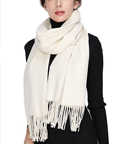 Womens Soft Wool Cashmere Oversized Blanket Wraps Sheer Shawl Tassel Scarf (White) (White Wool Scarf)