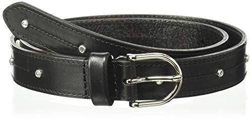NYDJ Women's Skinny Black Leather Belt - Women's Fashion Waist Dress Belt with Thin Strap Crystal Studs and Silver Buckle, Black, Medium