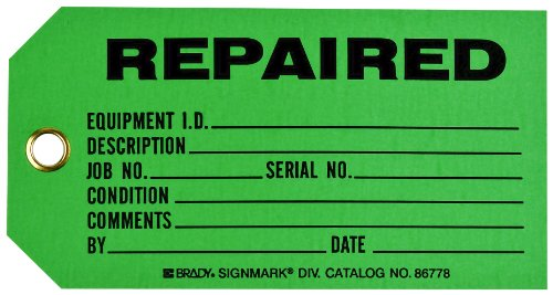 Brady 86778 3'' Height x 5 3/4'' Width, Cardstock (B-853), Black on Green Production Status Tags (100 Tags) by Brady