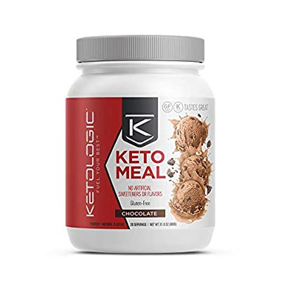 KetoLogic Ketogenic Meal Replacement Shake for Low Carb Weight Loss, Chocolate - 20 Servings