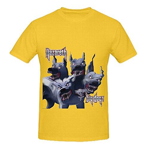 Nazareth Big Dogz Electronica Mens Round Neck Funny Tee Shirts Yellow