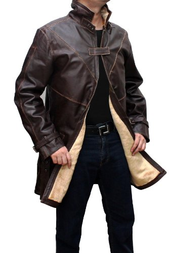 WD Leather Trench Coat For Men - Distressed Brown Leather Coat Halloween Costume (L) (Devil May Cry Halloween Costumes)