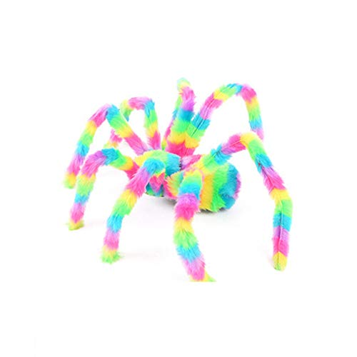 Colorful Plush Toys Simulation Spider Toy Halloween Party Decoration for Masquerades, Costume Parties, Carnivals, Mardi Gras and More (C)]()