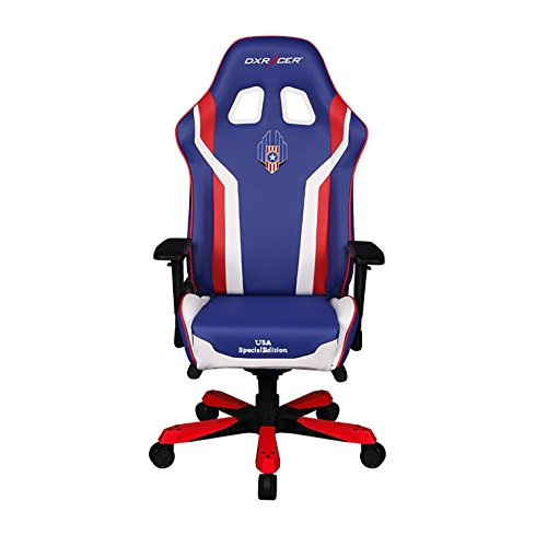 DXRacer USA Special Editions DOH/KS186/IWR/USA3 Racing Bucket Seat Office Chair X Large Pc Gaming Chair Computer Chair Executive Chair Ergonomic Desk Chair Automotive Rocker Pillows