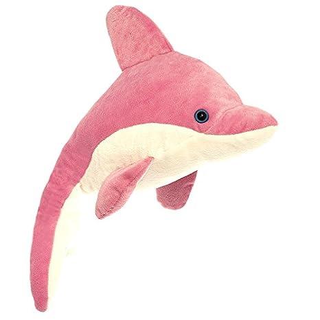 K7428 Peluche Realistico, Wild Planet- All About Nature-35cm Delfin con Sonido Rosa-Hecho a Mano 35 cm