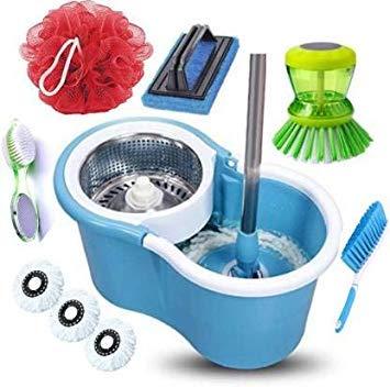 JSN Mopper Floor Cleaner 1 bucket 3 Microfiber absorber 1 bath loofah 1 foot care brush 1 carpet cleaning brush 1 sink…