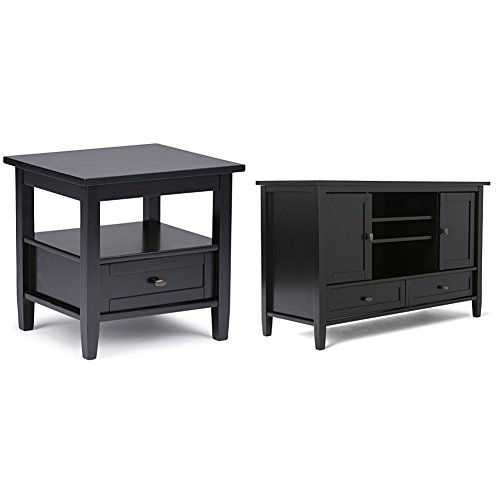 "Simpli Home Warm Shaker End Table, Black + Simpli Home Warm Shaker TV Media Stand for TVs up to 52"", Black :Bundle"