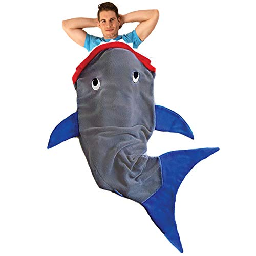 Blankie Tails Shark Blanket for Adults & Teens (Gray & Deep Blue)]()