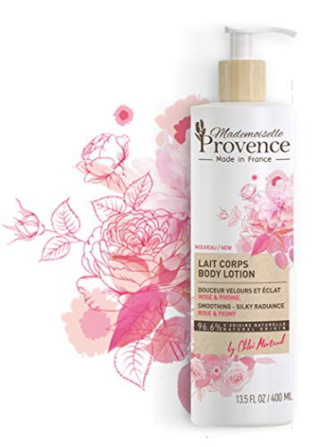 Mademoiselle Provence Natural Rose Body Lotion with Peony Extract, Shea Butter Moisturizing and Smoothing Body Cream for Radiant Skin, Vegan Moisturizer, Made in France 13.5 fl oz
