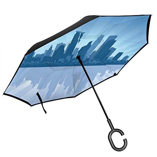 Car Reverse Umbrella,Starburst Pattern With Blue Tone Silhouette Of Minneapolis City,With C-Shaped Handle