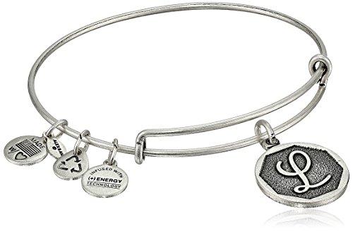 Alex and Ani Rafaelian Silver-Tone Initial L Expandable Wire Bangle Bracelet, 2.5