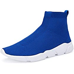 WXQ Men's Athletic Walking Shoes Lightweight Fashion Sneakers Breathable Flyknit Running Shoes Royal Blue 47