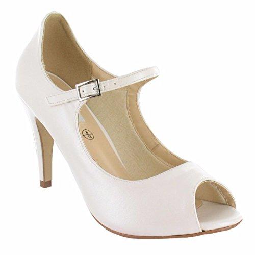 LEXUS Caprice Ivory Bridal Wedding Mid High Heels Mary Jane Court Shoes