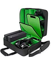USA GEAR Xbox Case - Console Case Compatible with Xbox Series X and Xbox Series S with Customizable Interior for Xbox Controllers, Xbox Games, Gaming Headset, and More Gaming Accessories (Green)