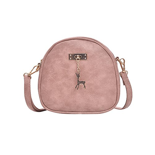Clearance Sale! ZOMUSAR Fashion Messenger Bags Handbags for Women Bags With Sika Deer Accessories (Pink)