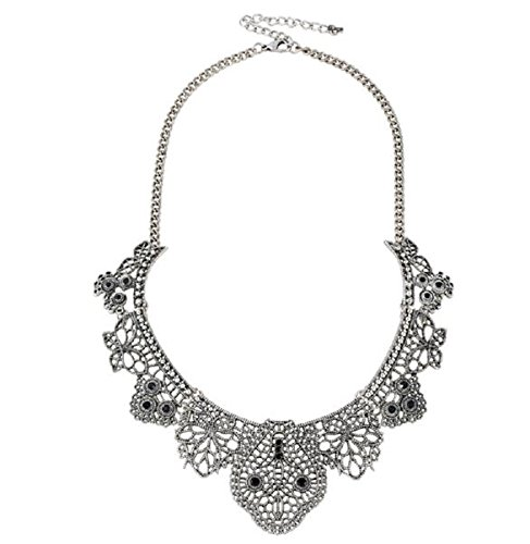 D EXCEED Bohemian Statement Necklace Lace Pattern Etched Filigree Crystal Bib Necklace Party jewelry for Women Anti Silver by D EXCEED