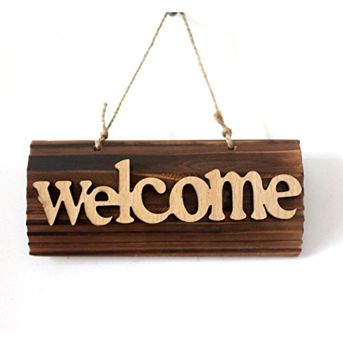 Beautiful Wood WELCOME Sign Plaque Bar Cafe Shop Store Door Window Decorative Welcome  Hanging Sign Board (Welcome)