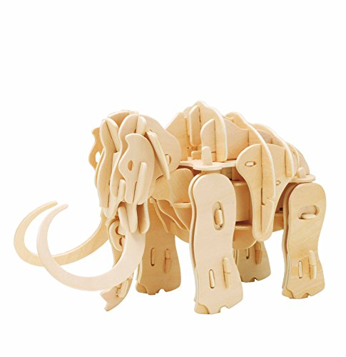 ROBOTIME 3D Wooden Puzzle Walking Mammoth - Wood Craft Kit - Best Robot Toy Birthday Gift for Boys and Girls 6 7 8 9 Year Old and Up