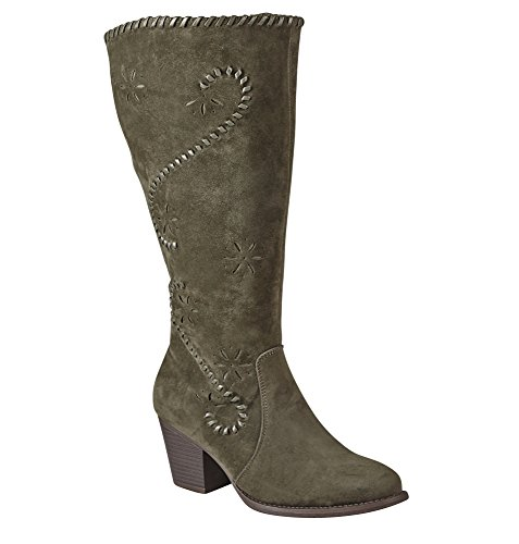 Avenue Womens Foster Whipstitched Alto Stivale Oliva