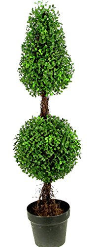 Single Topiary - Admired by Nature 3' Artificial Boxwood Leave Double Ball Shaped Topiary Plant Tree in Plastic Pot, Green/Two-tone