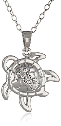 sterling-silver-diamond-accent-turtle-pendant-necklace