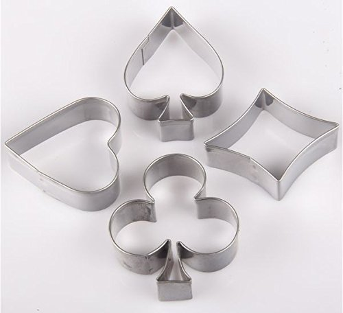 Poker Card Suit 4 Pc Metal Cookie Cutter Set