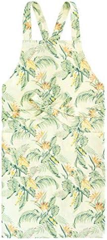 ハワイアン 雑貨 エプロン ハワイ雑貨 バードオブパラダイス 極楽鳥花(エルバ) 収納袋付き お洒落 トロピカル (グリーン)