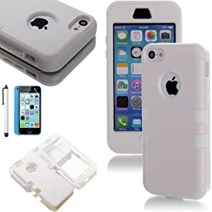 ATC Masione(TM) 3-Piece Hybrid High Impact Resistance Case Rubberized Silicone Cover For Apple iPhone 5C with Screen Protector & Stylus (White)