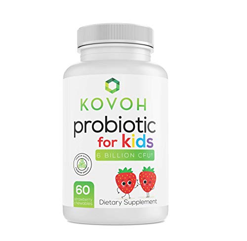 Kovoh Probiotics for Kids Chewable. 60 Day Supply with 6 Billion CFU. 4 Different Strains assisting Gut Health & Immune Support. Strawberry-flavored tablets.