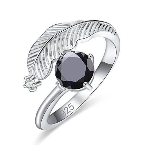 Veunora Ladies' 925 Sterling Silver 7x7mm Black Spinel Filled Feather Ring Size 9 ()