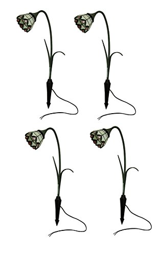 Glass & Metal Accent Lamps 4 Pc. Art Glass Bell Flowers Intermatic Low Voltage Outdoor Accent Light Set 14.5 X 28.5 X 4.75 Inches Multicolored (Low Voltage Art)