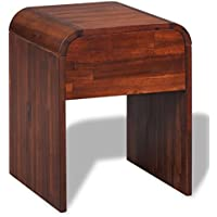 Festnight Bedside Cabinet Nightstand with a Drawer Acacia Wood 16.3'x 16.5', Brown
