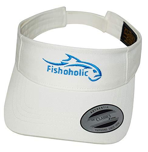 Fishoholic Flexfit Visor White w Blue Logo for Women or Men Fishing Golfing Tennis Running Jogging Hiking Walking or Relaxing at Beach Lake River Ocean or Baseball Ballpark ()