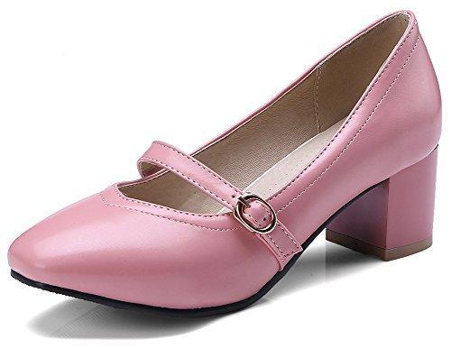 IDIFU Women's Dressy Low Top Square Toe Slip On Mid Chunky Heel Mary-Jane Pumps (Pink, 7.5 B(M) US) (Shoes Women Dress Casual)