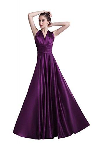 Lange GEORGE Lila Elegante BRIDE traegerlosen Satin Rueckenfrei Abendkleid Abendkleid 5YZBPqYwnr