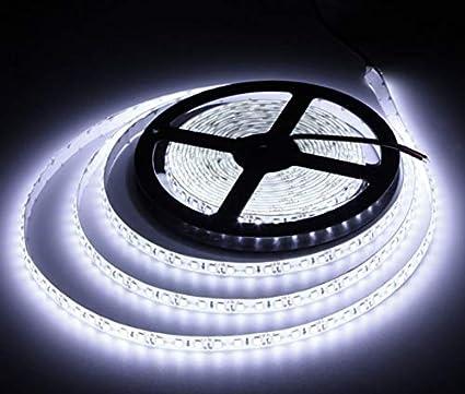 JANDEI - Tira LED 12V Blanco Frío 6000K 600LED Bobina 5 Metros IP65 Exterior SMD2835 Base Adhesiva De Alta Calidad 3M. Corte Cada 25 Milímetros.