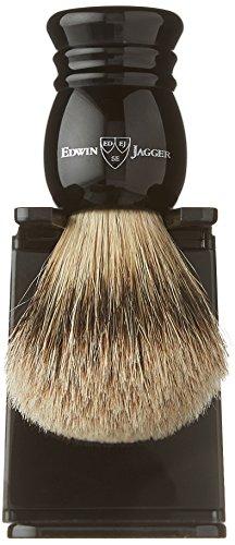 Edwin Jagger 1ej256sds Traditional English Super Badger Hair Shaving Brush Faux Ebony Medium With Drip Stand, Black, Medium