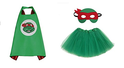 Rush Dance Kids Children's Deluxe Comics Super Hero CAPE & MASK & TUTU Costume (TMNT Raphael (Kelly Green (Cheap Ninja Costumes)