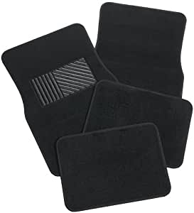 4 Piece Car Mat Set to Suit Most Cars - Non-Slip Nibbed Backing - Charcoal