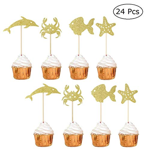 JANOU Gold Glitter Sea Fish Cupcake Toppers Crab Dolphin Ocean Cake Decoration Picks for Wedding Birhtday Baby Shower Party Favors Pack 24pcs