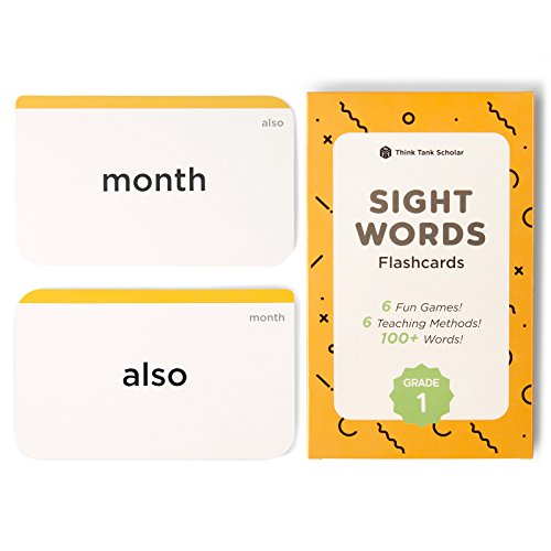 Think Tank Scholar 100+ First Grade (1st) Sight Words Flash Cards for Kids Ages 6 to 7 Years Old