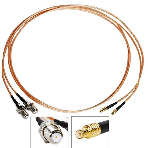 (Pack of 2) 3ft (39inch=1m) RF Coaxial Coax Cable RG316 Assembly MCX Male to F Female with Connector for Antenna Coaxial Cable Infinitv4 6 RCA