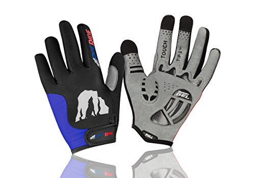 Fingered Cycling Glove - RocRide Evolution Cycling Gloves with Sensory Gel Padded Protection. Full-Fingered with Touch Tips. (Black/Blue, Men's Large)