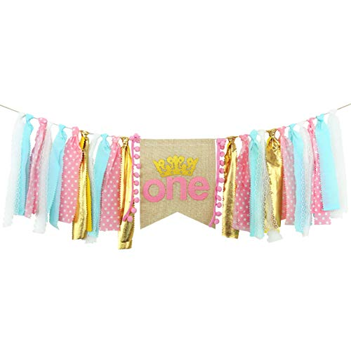 (Ecore Fun First Birthday Party Decoration Supplies High Chair Banner for Girl | Pink Princess Theme)
