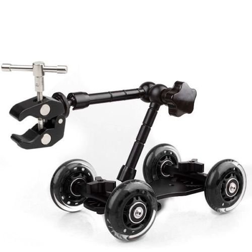 """SUPON Video Truck Skater Wheel Table Top Compact Dolly Kit Rail Track Slider Car Blue + 11"""" Articulating Magic Arm+ Super Clamp"""