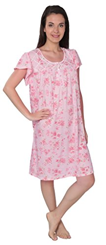 (Beverly Rock Women's Floral Print Short Sleeve Nightgown N104 Pink L)