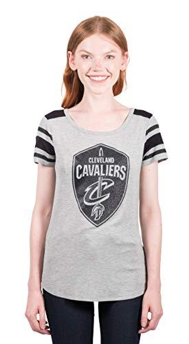 UNK NBA Adult Women T Box Out Varsity Stripe Tee Shirt, Gray, Large